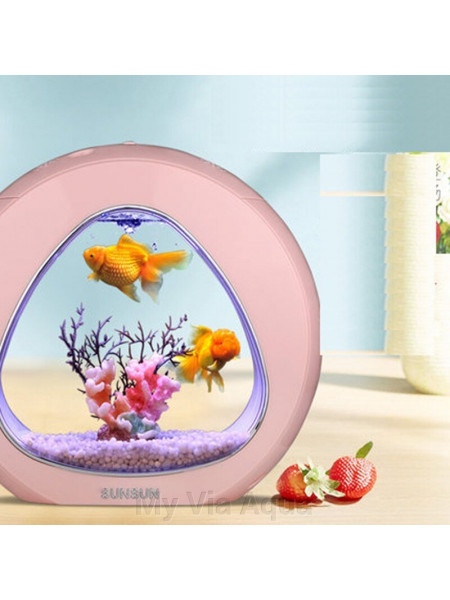 "Аквариум комплект ""sunsun"" YA-03  розовый, 9 литров"