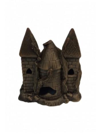 """Грот """"Замок двухбашенный темный"""" (15х10х15) см"""